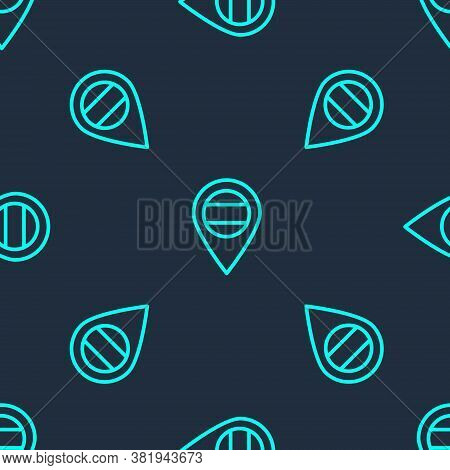 Green Line Location Russia Icon Isolated Seamless Pattern On Blue Background. Navigation, Pointer, L
