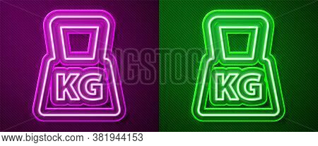 Glowing Neon Line Weight Icon Isolated On Purple And Green Background. Kilogram Weight Block For Wei