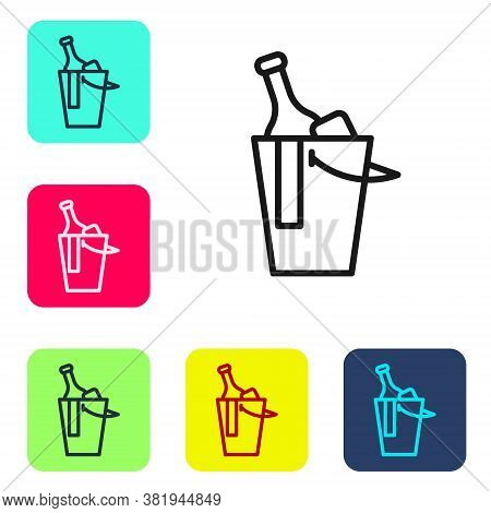 Black Line Bottle Of Wine In An Ice Bucket Icon Isolated On White Background. Set Icons In Color Squ