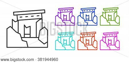 Black Line Ancient Ruins Icon Isolated On White Background. Set Icons Colorful. Vector