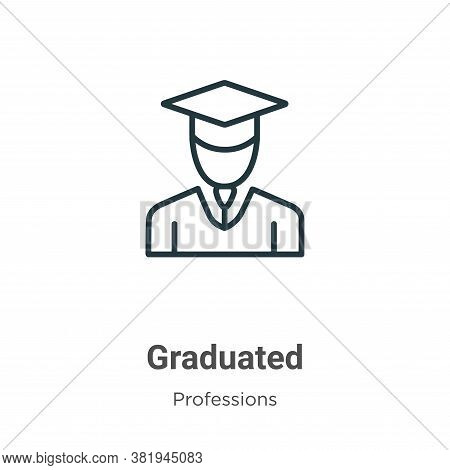 Graduated icon isolated on white background from professions collection. Graduated icon trendy and m