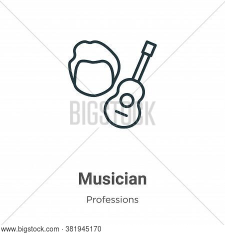 Musician icon isolated on white background from professions collection. Musician icon trendy and mod