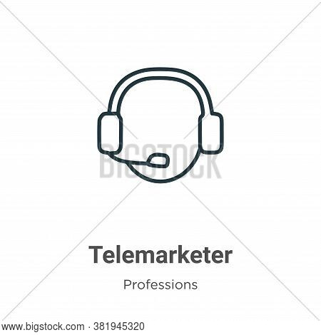 Telemarketer icon isolated on white background from professions collection. Telemarketer icon trendy