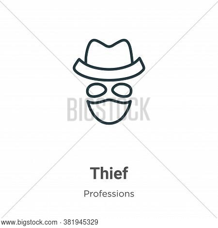 Thief icon isolated on white background from professions collection. Thief icon trendy and modern Th