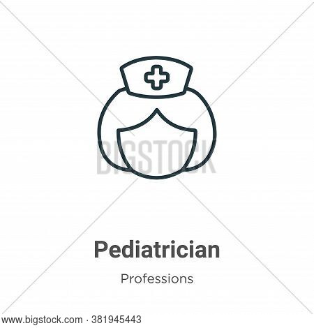 Pediatrician icon isolated on white background from professions collection. Pediatrician icon trendy