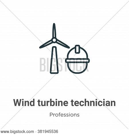 Wind Turbine Technician Icon From Professions Collection Isolated On White Background.