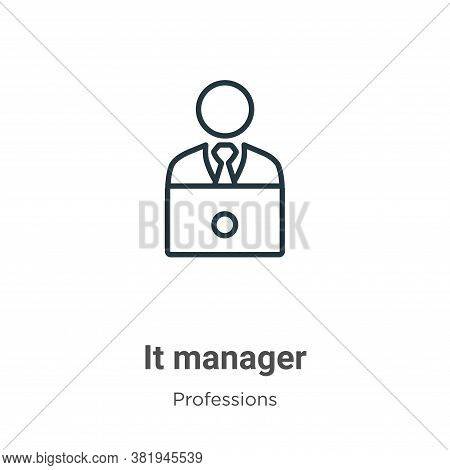It manager icon isolated on white background from professions collection. It manager icon trendy and