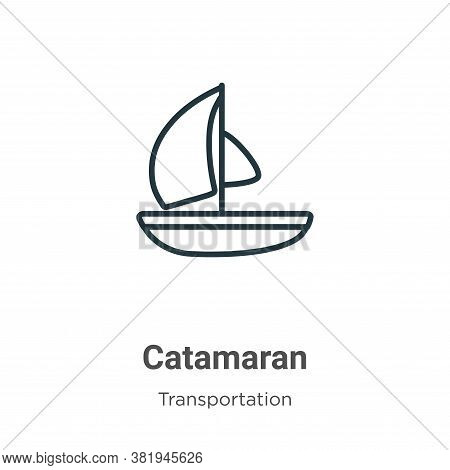 Catamaran icon isolated on white background from transportation collection. Catamaran icon trendy an