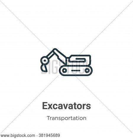 Excavators icon isolated on white background from transportation collection. Excavators icon trendy