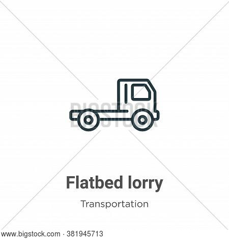 Flatbed lorry icon isolated on white background from transportation collection. Flatbed lorry icon t