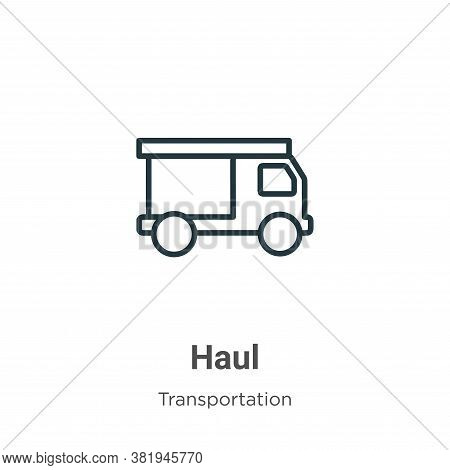 Haul icon isolated on white background from transportation collection. Haul icon trendy and modern H