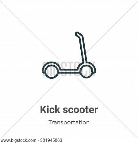 Kick scooter icon isolated on white background from transportation collection. Kick scooter icon tre