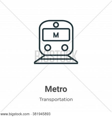 Metro icon isolated on white background from transportation collection. Metro icon trendy and modern