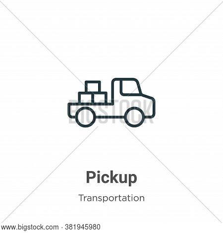 Pickup icon isolated on white background from transportation collection. Pickup icon trendy and mode