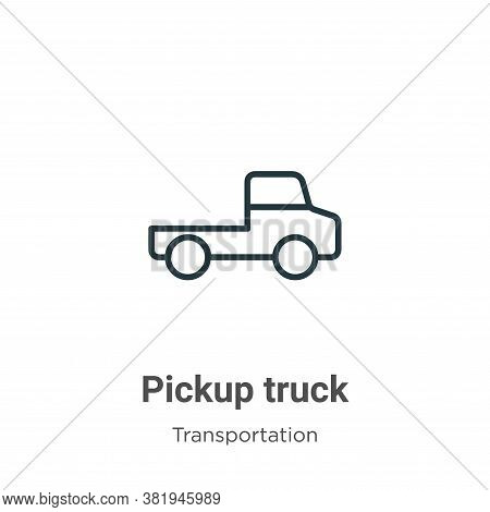 Pickup truck icon isolated on white background from transportation collection. Pickup truck icon tre