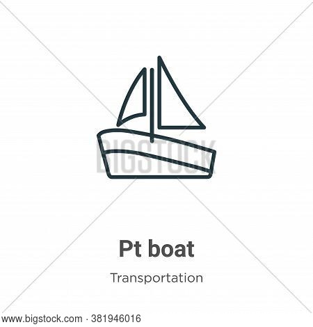 Pt boat icon isolated on white background from transportation collection. Pt boat icon trendy and mo