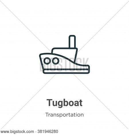 Tugboat icon isolated on white background from transportation collection. Tugboat icon trendy and mo