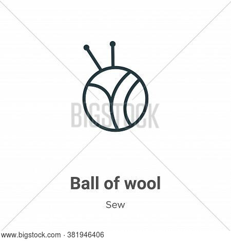 Ball of wool icon isolated on white background from sew collection. Ball of wool icon trendy and mod