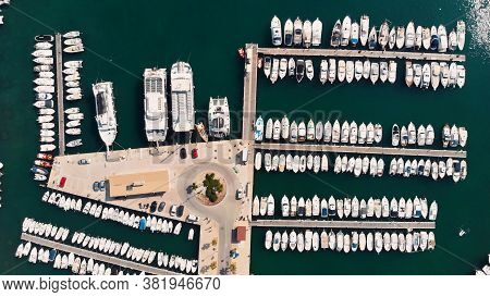 Port De Soller, Marina Harbor With Boats And Ships Parked In The Port Mallorca Island, Spain Mediter