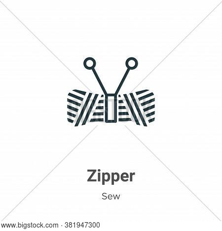 Zipper icon isolated on white background from sew collection. Zipper icon trendy and modern Zipper s