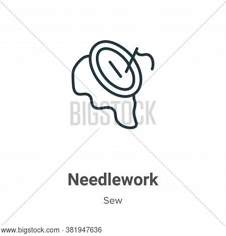 Needlework icon isolated on white background from sew collection. Needlework icon trendy and modern