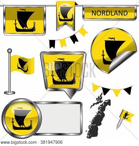 Glossy Icons With Flag Of Nordland County, Norway Country. Vector Image
