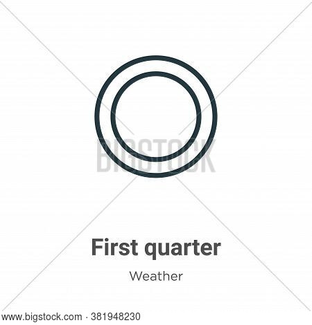 First quarter icon isolated on white background from weather collection. First quarter icon trendy a
