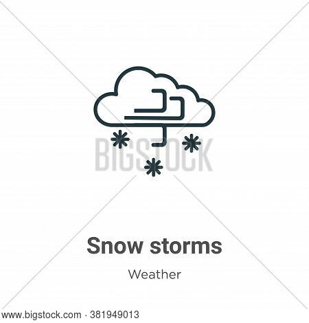 Snow storms icon isolated on white background from weather collection. Snow storms icon trendy and m