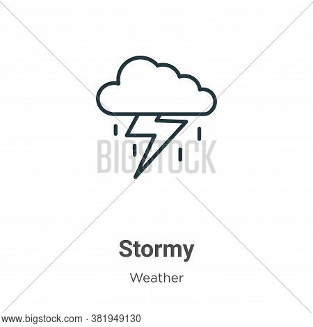 Stormy icon isolated on white background from weather collection. Stormy icon trendy and modern Stor