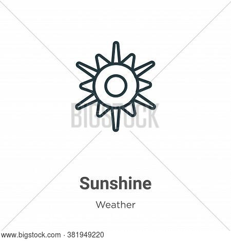 Sunshine icon isolated on white background from weather collection. Sunshine icon trendy and modern