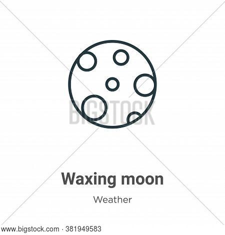 Waxing moon icon isolated on white background from weather collection. Waxing moon icon trendy and m