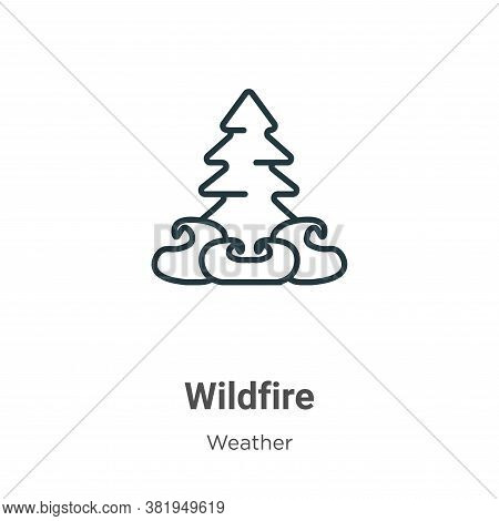 Wildfire icon isolated on white background from weather collection. Wildfire icon trendy and modern