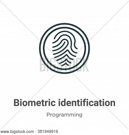 Biometric identification icon isolated on white background from programming collection. Biometric id