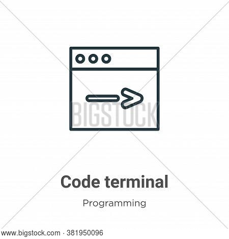 Code terminal icon isolated on white background from seo collection. Code terminal icon trendy and m