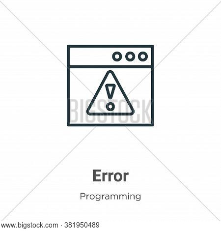 Error icon isolated on white background from seo collection. Error icon trendy and modern Error symb