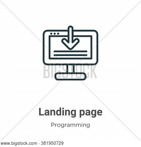 Landing page icon isolated on white background from seo collection. Landing page icon trendy and mod