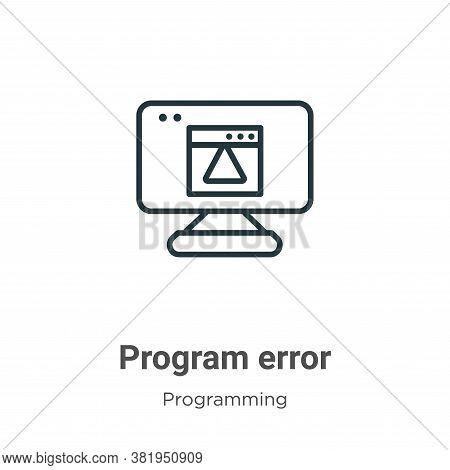 Program error icon isolated on white background from programming collection. Program error icon tren