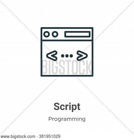 Script icon isolated on white background from programming collection. Script icon trendy and modern
