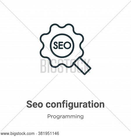 Seo configuration icon isolated on white background from seo collection. Seo configuration icon tren