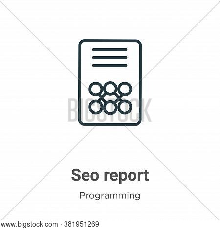 Seo report icon isolated on white background from seo collection. Seo report icon trendy and modern