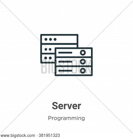 Server icon isolated on white background from programming collection. Server icon trendy and modern