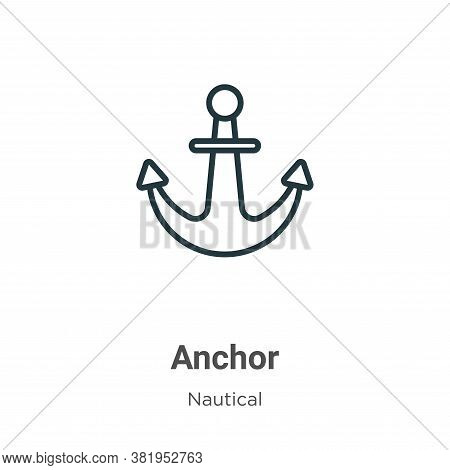 Anchor icon isolated on white background from nautical collection. Anchor icon trendy and modern Anc