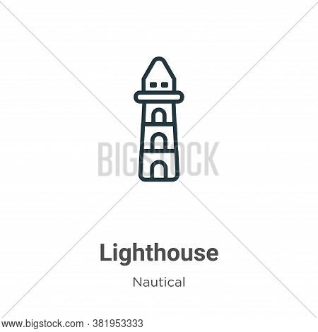 Lighthouse icon isolated on white background from nautical collection. Lighthouse icon trendy and mo