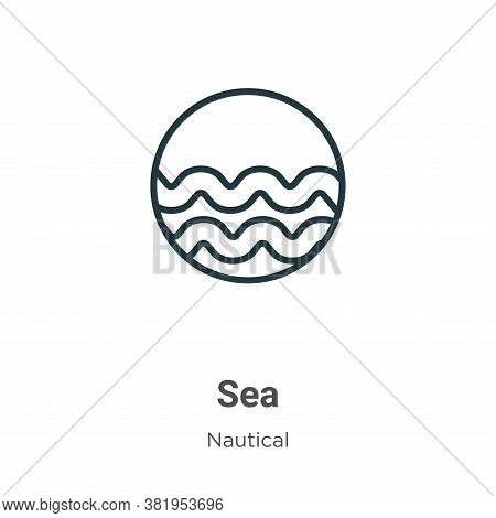 Sea icon isolated on white background from nautical collection. Sea icon trendy and modern Sea symbo