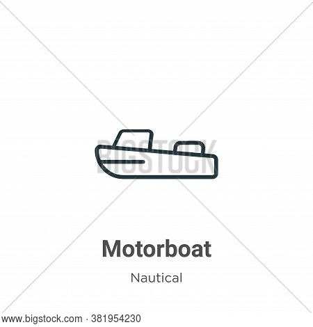 Motorboat icon isolated on white background from nautical collection. Motorboat icon trendy and mode