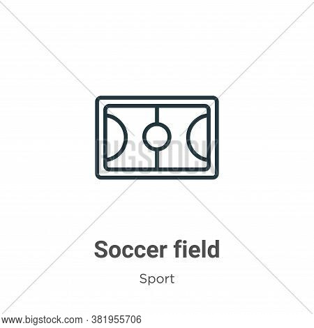 Soccer field icon isolated on white background from sport collection. Soccer field icon trendy and m