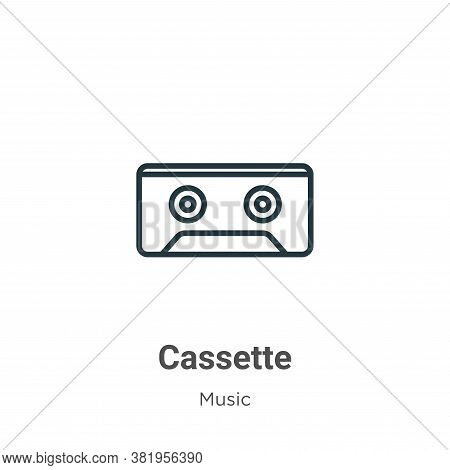 Cassette icon isolated on white background from music collection. Cassette icon trendy and modern Ca