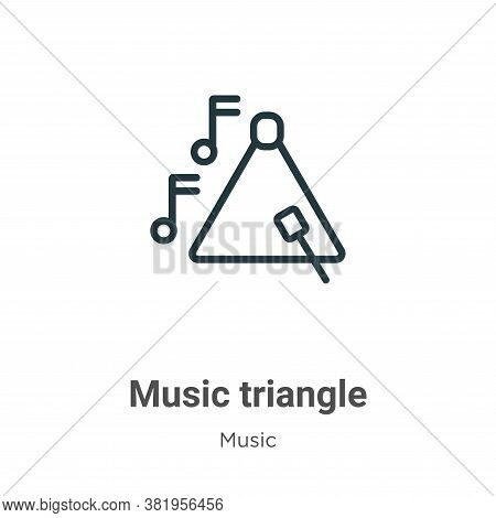 Music triangle icon isolated on white background from music collection. Music triangle icon trendy a