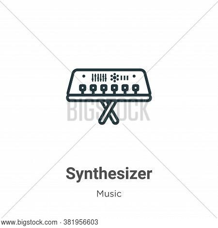Synthesizer icon isolated on white background from music collection. Synthesizer icon trendy and mod