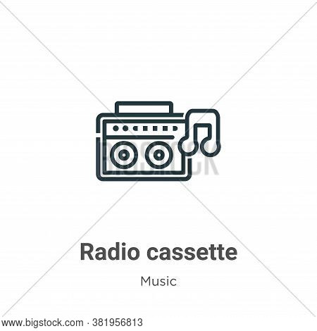 Radio cassette icon isolated on white background from music collection. Radio cassette icon trendy a